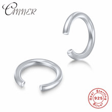 CANNER 925 Sterling Silver Clip Earrings without Piercing Geometric Round Ear Cuff Minimalist Cartilage Earrings for Women Gifts(China)