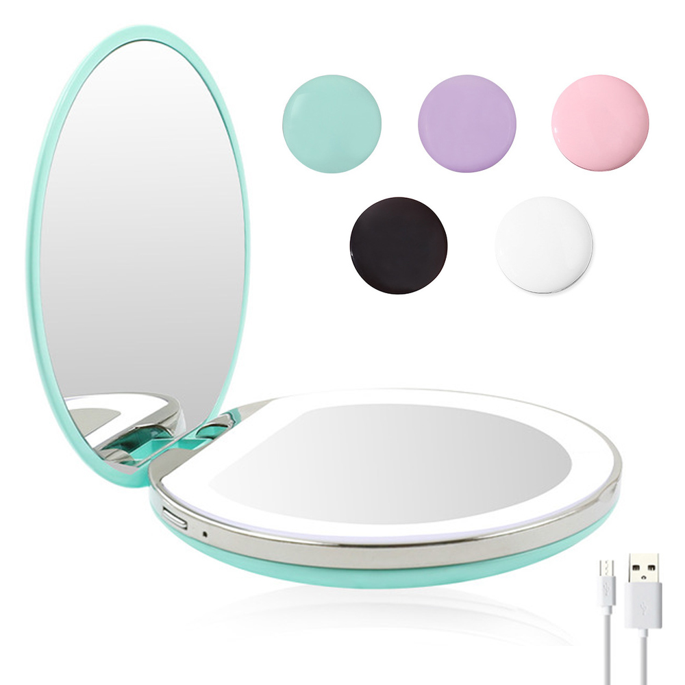 5 Colors 3X Magnifying Lighted Makeup Mirror Light Mini Round Portable LED Make Up Mirror Sensing USB Chargeable Makeup Mirror