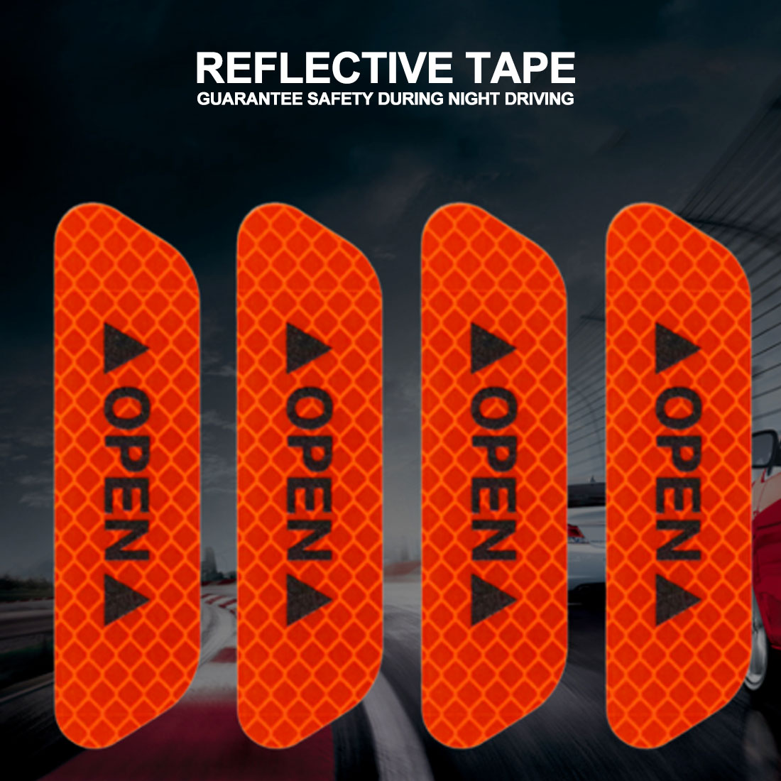 4Pcs/Set Car OPEN Reflective Tape Warning Mark Reflective Open Notice Bicycle Accessories Exterior Car Door Stickers