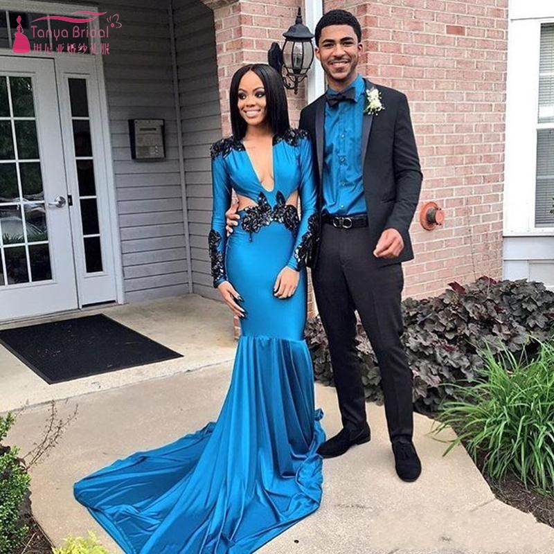 African Blue Prom Dresses 2019 Long Mermaid Sexy Plunging V Neck Sides Black Girls Formal Evening Dress Party Gowns W062