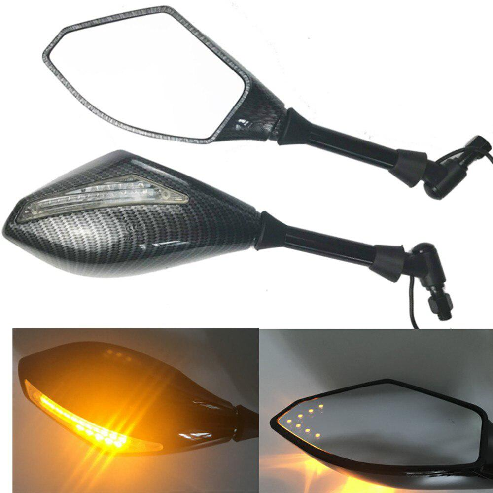 Motorcycle Double LED Turn Lights Side Mirrors Turn Signal Indicator Rearview Mirror