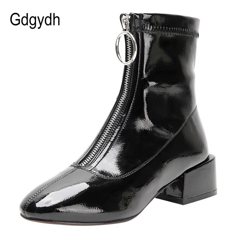 Gdgydh-Botines de mujer de tacón medio con cremallera, botas cortas impermeables de charol con punta cuadrada, color blanco, envío directo