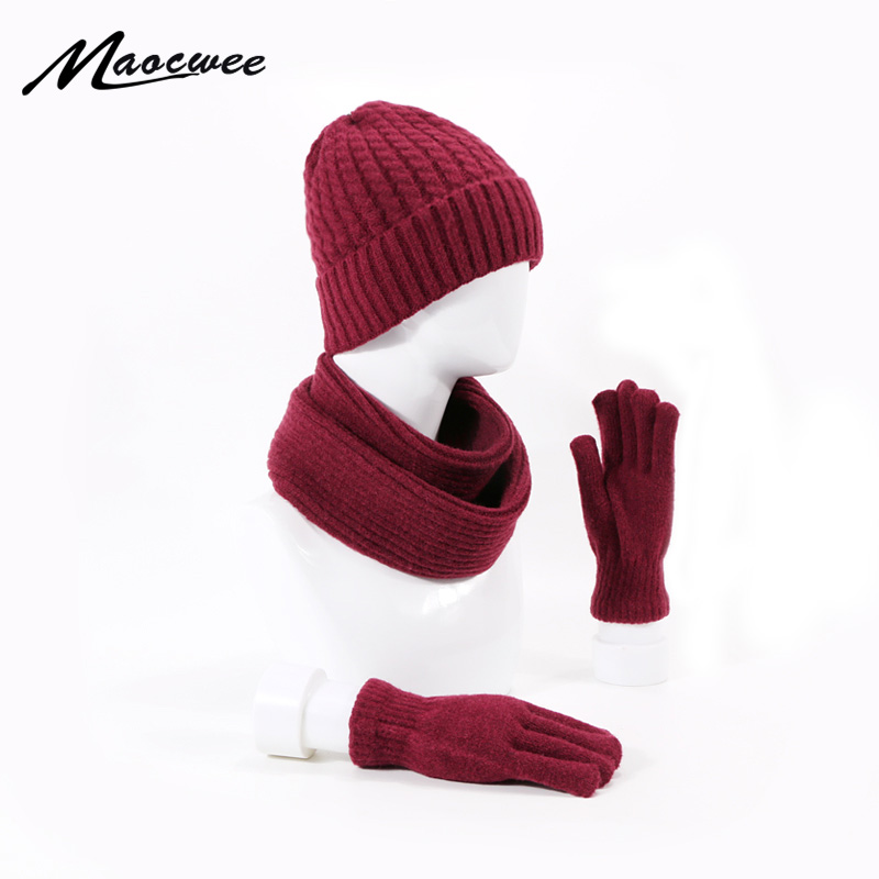 Women Man Winter Warm Knitted Hat Cap With Scarves Thickened Wool Hat Scarf Gloves 3 Pieces Winter Ski Caps Skullies Beanies
