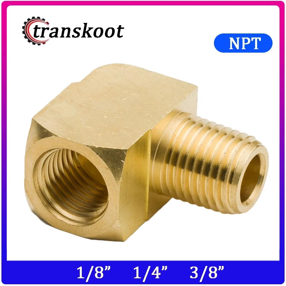 transkoot 2pcs 1//4 Male to 1//4 Female NPT Thread Brass Pipe Tube Hose Fitting Brass 90 Degree Elbow