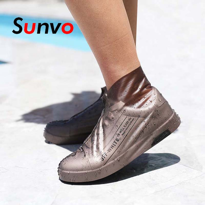 Sunvo Reusable Rain Shoe Cover Waterproof Rubber Boot Covers Latex Anti-Slip Overshoes Shoes Protector Outdoor Accessories Pads