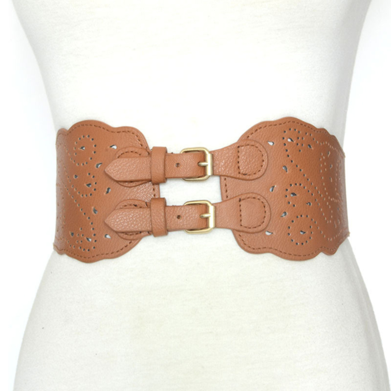 New Imitation Leather Women Waist Belt Girl Vintage Hollow Pin Buckle Straps Clothes Accessories Wide Elastic Belt For Ladies
