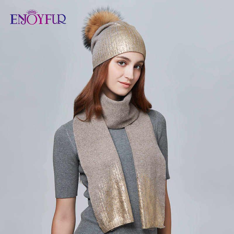 ENJOYFUR 女性の冬の帽子とスカーフセットファッションカシミヤ高品質毛皮 Pompom 帽子女性暖かいカシミヤニット帽子スカーフ