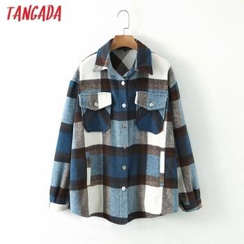Tangada 2020 automne hiver femmes bleu plaid Long manteau veste poche décontracté chaud pardessus mode Outwear hauts QW12 1