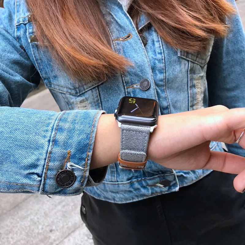 Купить с кэшбэком Denim nylon Bracelet for Apple watch band 44mm 40mm iwatch series 5 4 3 2 42mm 38mm watchband strap Apple watch 5 4 Accessories