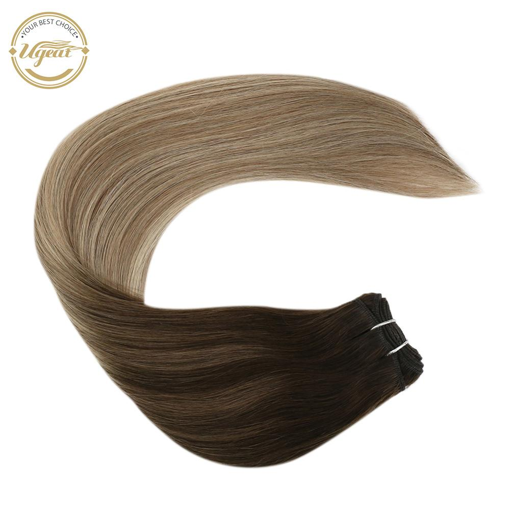 Ugeat Hair Weft Extension Human Hair Machine Remy 14-24inch 100g Natural Straight Real Human Hair Weft Weaving