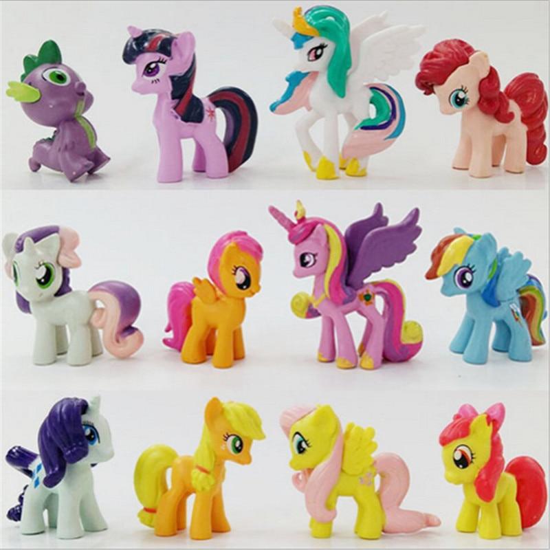 12pcs/lot Cute Little Horse Pvc Action Figures Toys for Children Earth Ponies Unicorn Pegasus Alicorn Bat Figure Model