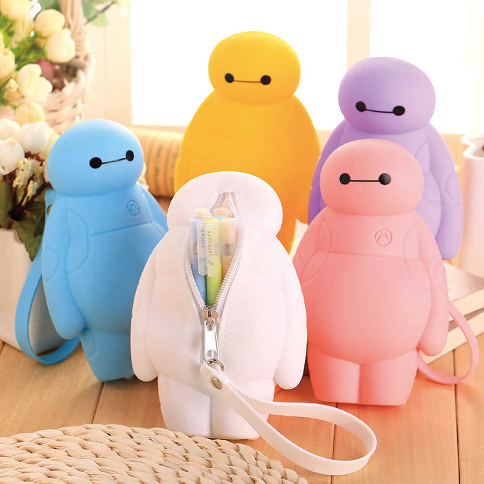 Silikon Big Hero Baymax Kawaii Bleistift Fällen Multi-funktionale Schreibwaren Stift Taschen Lagerung Bleistift Box Schule Liefert