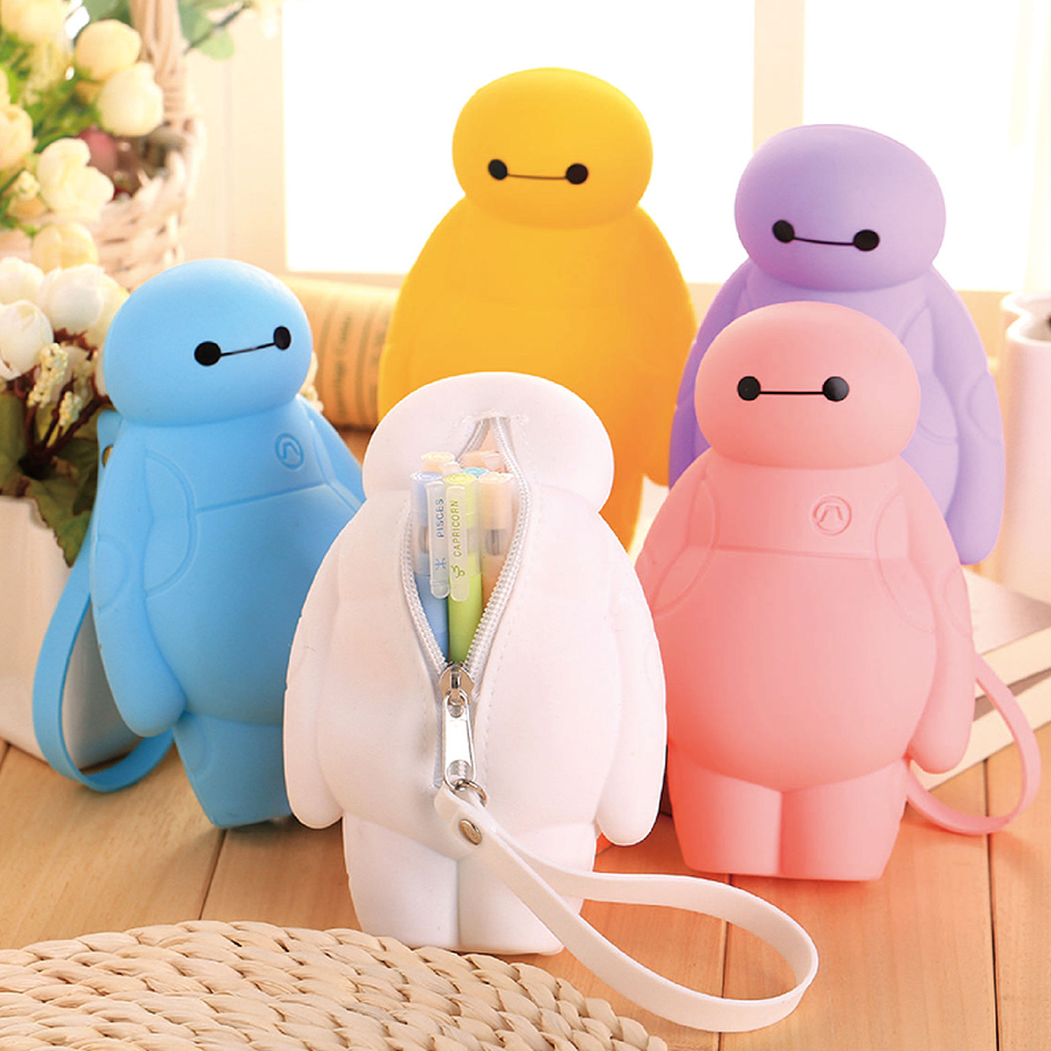 Silicone Big Hero Baymax Kawaii Pencil Cases Multi-functional Stationery Pen Bags Storage Pencil Box School Supplies