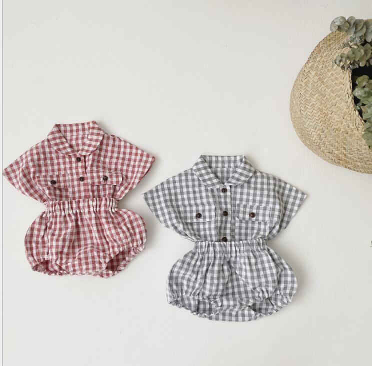 2020-new-baby-girls-2-pcs-plaid-set-shirt-shorts-fashion-summerbabys-cotton-girls-suit-6 (1)