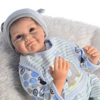 55CM Soft silicone Reborn Baby Dolls Handmade Design Cloth Body Silicone Lifelike Alive bebe reborn doll Toys For Kids gift