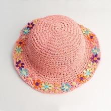 Летнее Солнце Hat Девушки Пляж Соломы Ведро Розовые Цветы С Широкими Полями Детский Праздник На Открытом Воздухе Аксессуар Для Весны