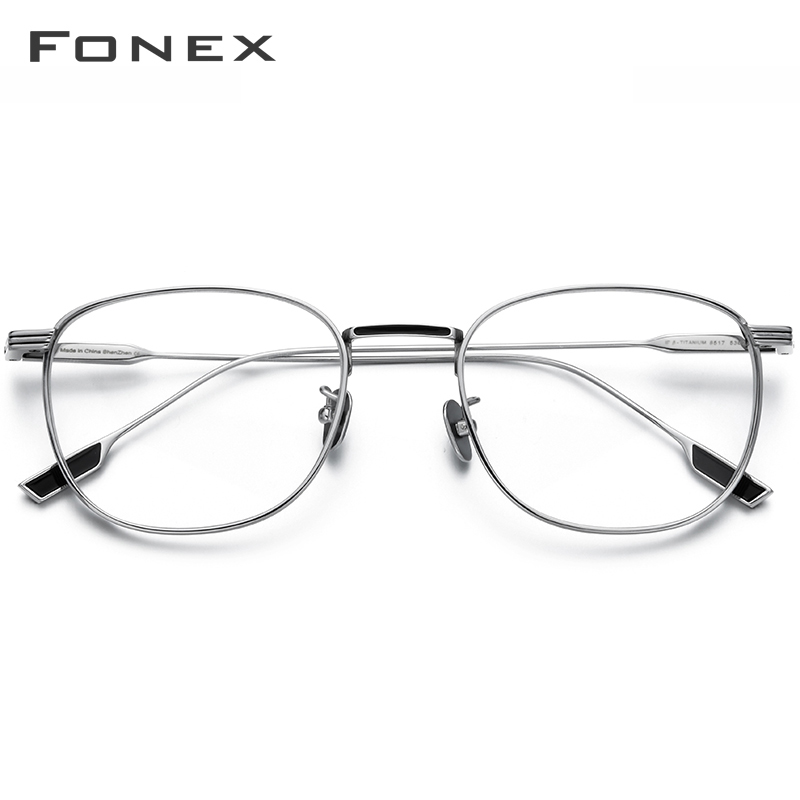 FONEX Pure Titanium Glasses Frame Women Vintage Round Myopia Optical Prescription Eyeglass Frame Men 2020 New Oval Eyewear 8517 image
