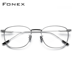 FONEX Titanio Puro Occhiali Telaio Delle Donne Rotonde Vintage Miopia Ottica di Prescrizione di Occhiali Telaio Uomini 2020 Nuovo Ovale Occhiali 8517