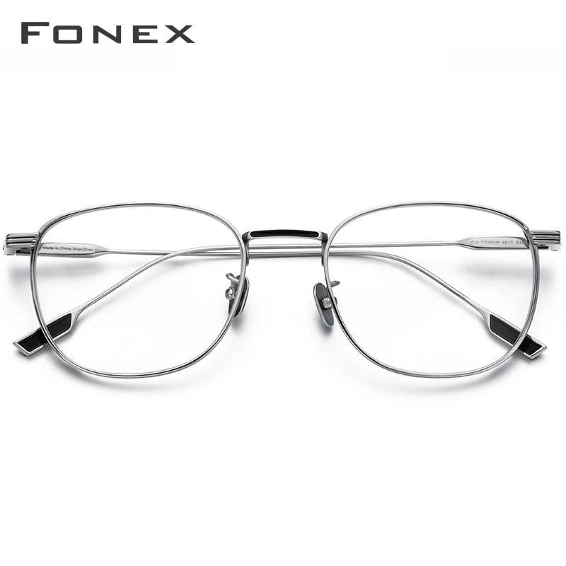 Fonex Titanium Kacamata Bingkai Wanita Vintage Bulat Miopia Optik Resep Bingkai Kacamata Pria 2020 Baru Oval Eyewear 8517