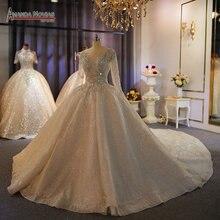أماندا نوفيس ماركة 100% عمل حقيقي فاخر دبي فستان الزفاف مطرز بالخرز الثقيل فساتين زفاف 2020 حفلات زفاف جديدة