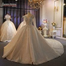 Amanda novias marca 100% trabajo real de lujo de dubai pesadas rebordear boda Vestido vestidos de novia 2020 nuevo bodas