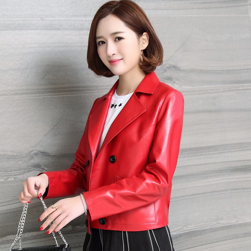 Spring Autumn Genuine Leather Jackets Women Real Luxury Leather Coat Natural Sheepskin Outwear Plus Size Clothes LWL1436