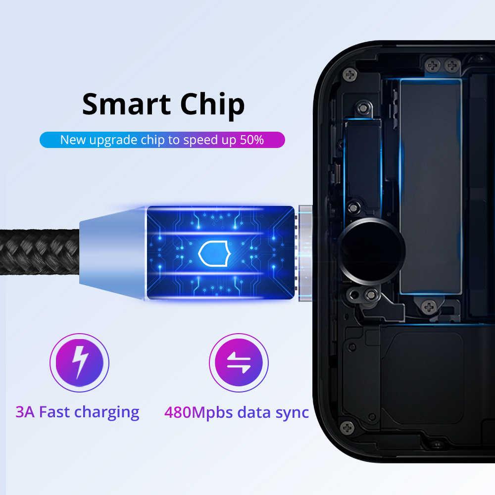FONKEN Micro USB kabel magnetyczny typ C kabel USB szybki ładunek magnes telefon przewód do iphone'a 1m 2m Led mobilna szybka ładowarka drut
