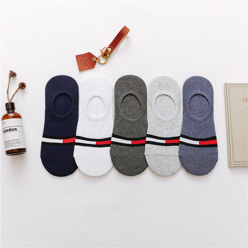5 pairs/lot men Korean fashion stealth socks cotton low-top short non-slip solid color comfortable Breathable match boat socks