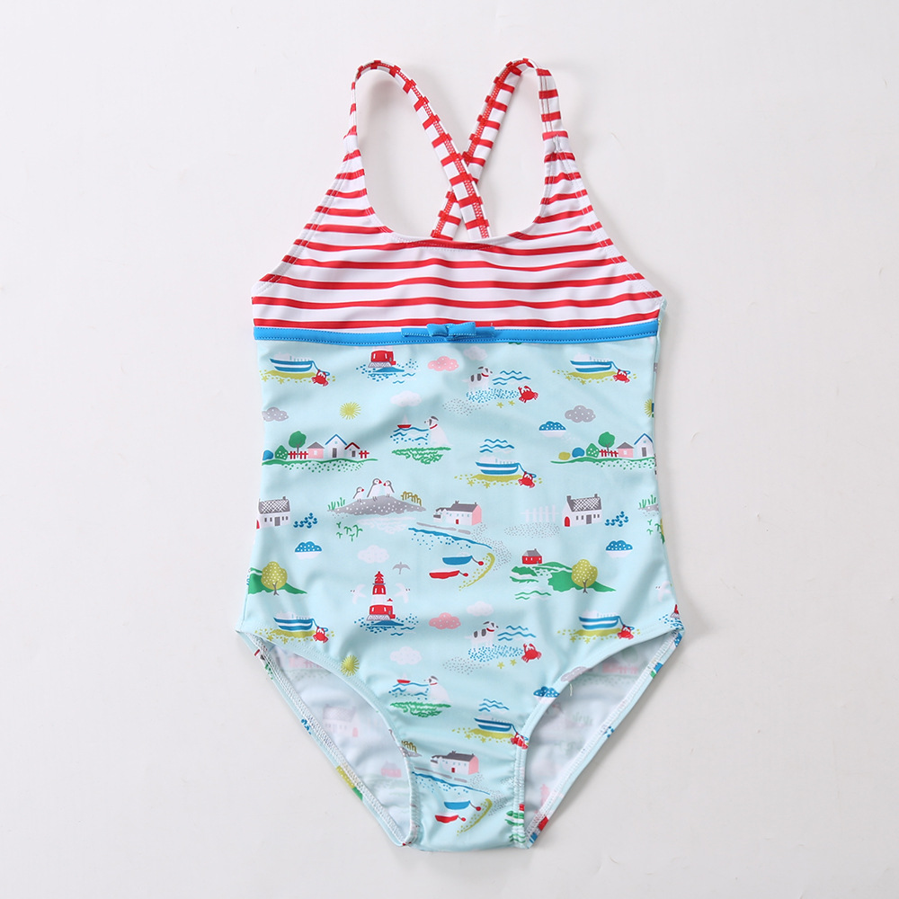 2018 Europe And America AliExpress Amazon New Style Bathing Suit Stripes Printed One-piece KID'S Swimwear PRD18003