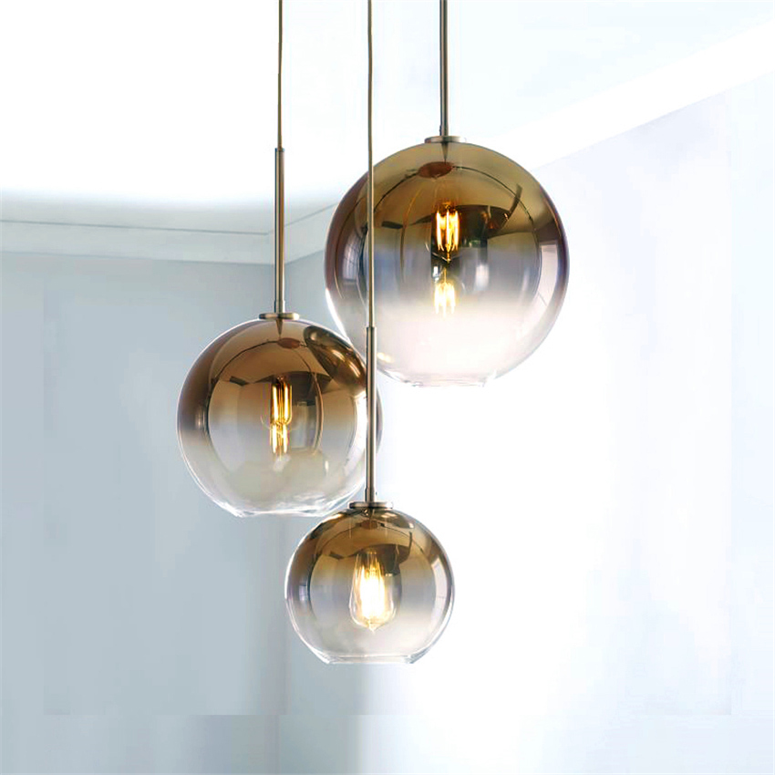 Nordic Led Gold Pendant Light Lighting Ball Glass Pendant Lamp Living Room Lights Hanging Luminaire Suspendu Home Decor Fixture