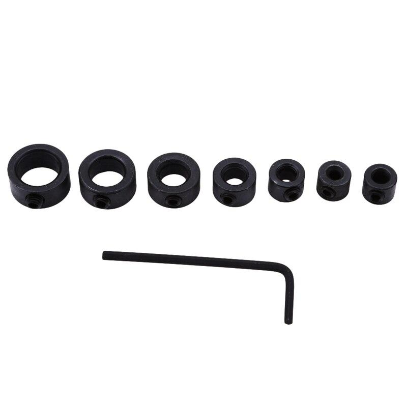 7Pcs/8Pcs Drill Bit Depth Stop Collar Ring Woodworking Drill Locator Spacing Ring Wood Drill Bit Hole Hex Wrench