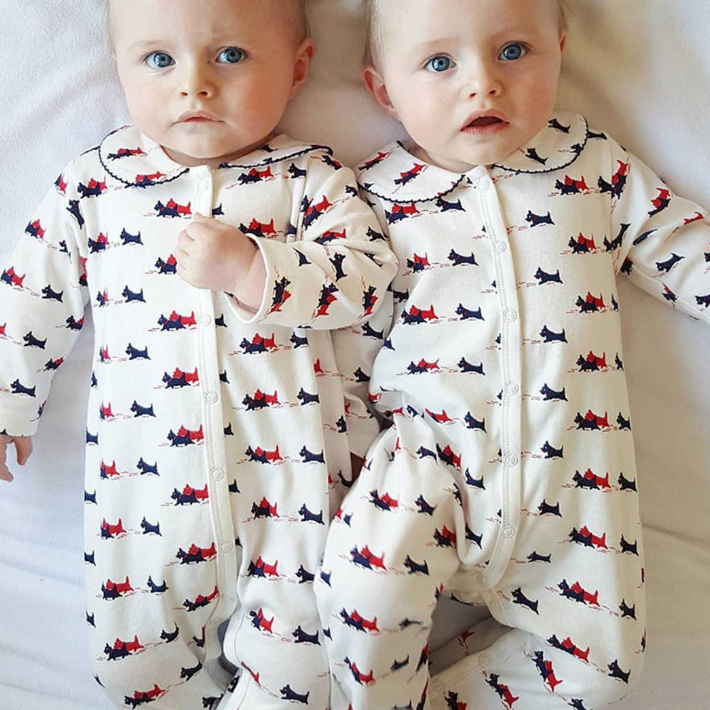 2020 Baby Girls Boys Rompers Cartoon Animal Dog Long Sleeve Cotton Clothing Newborn Baby Jumpsuit Outfits Set