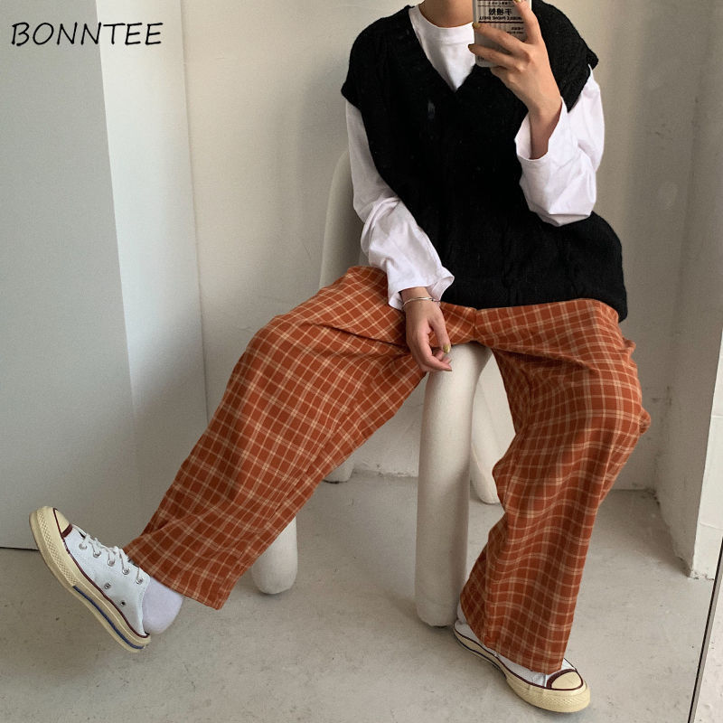 Wide Leg Pants Women Trendy Spring Korean Plaid Loose Leisure High Elastic Wasit Female Streetwear Thin Capris 2020 Newest Chic