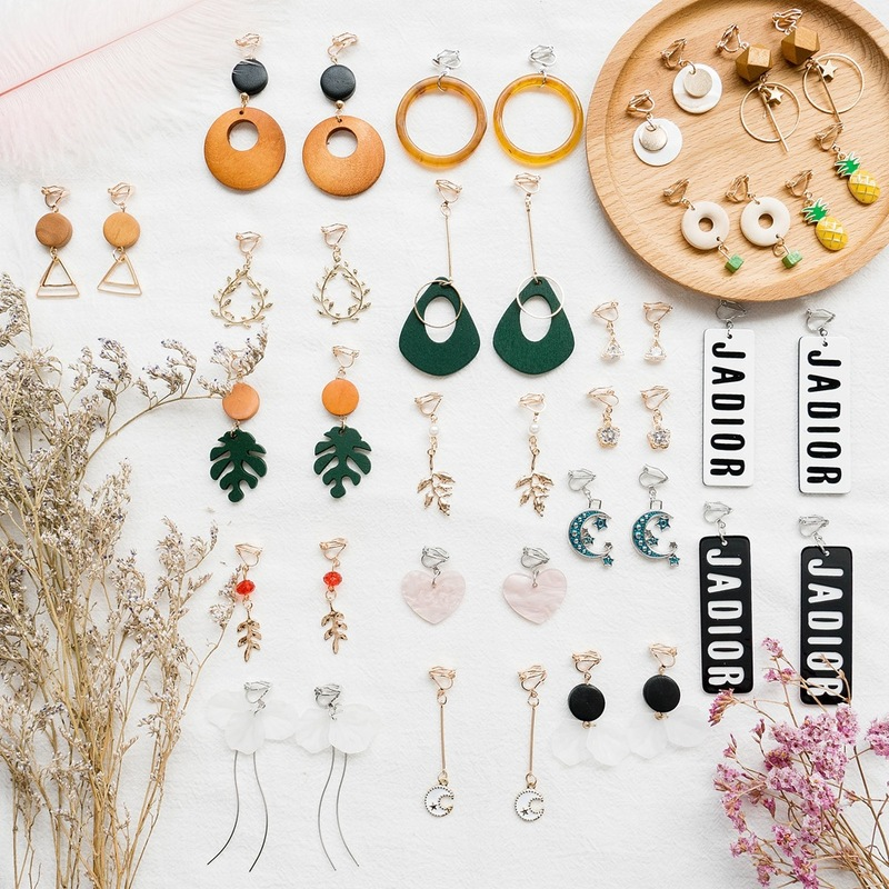 Multiple Styles Collection Jewelry Korean Creative Personality  Geometric Leaves Clip Earrings Fashion Girl Women's Accessories