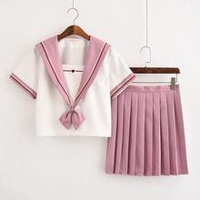 Sailor Suit Jk Uniform Pink Cute Girl Jpanese Kawaii Exquisite Heart Embroidery Preppy Suit Cardigan Short Long Sleeve Top+Skirt