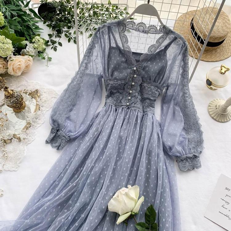 Lace Floral V-Neck Long Sleeve Polka Dot Dress 11