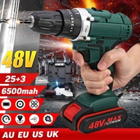 48V 6500/13000mah 2 Speed Dual battery Power Drills Screwdriver Rechargeable Cordless Electric Drill 25+3 Torque Drilling Tool