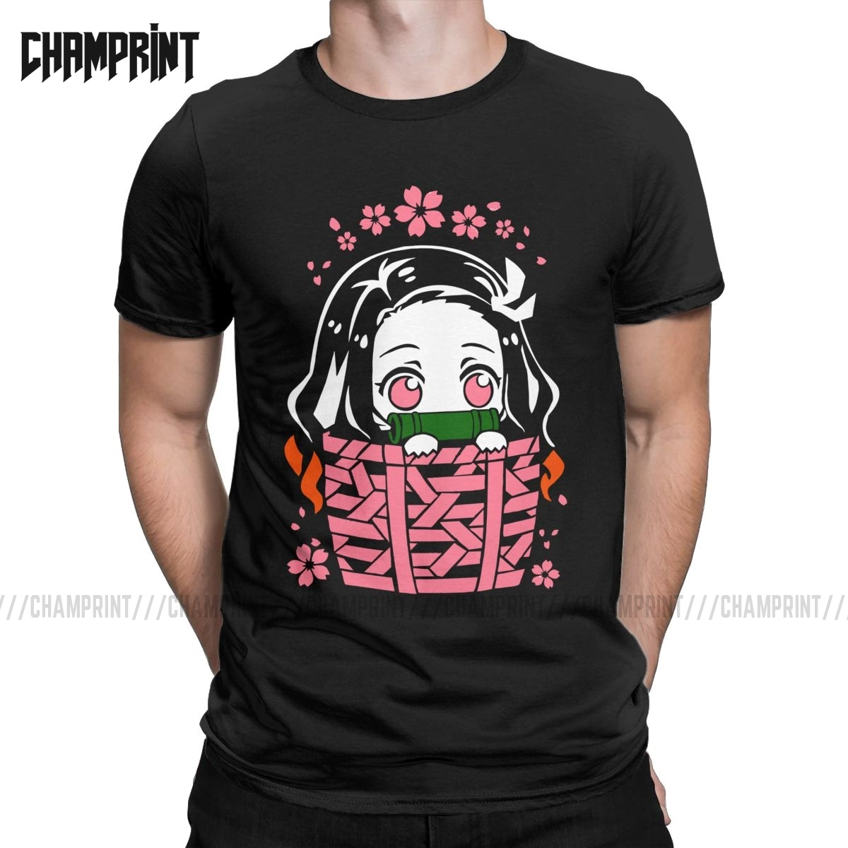 Nezuko T-Shirts Men Cotton T Shirt Demon Slayer Kimetsu No Yaiba Kamado Tanjirou Anime Manga Short Sleeve Tee Shirt 4XL 5XL