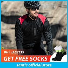 Santic Men Black Cycling Jacket Bike Winter Fleece Jackets Windproof Bicycle Clothes Ciclismo Maillot KC6104H