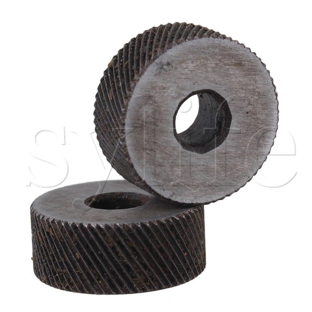 Купить с кэшбэком 2PCS 0.8mm Pitch Diagonal Coarse 19mm OD Knurling Wheel Roller Tool Steel