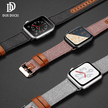 DUX DUCIS Genuine Leather Strap for Apple Watch 38mm 40mm 42mm 44mm Canvas Nylon Wrist Bracelet Band iWatch 1 2 3 4