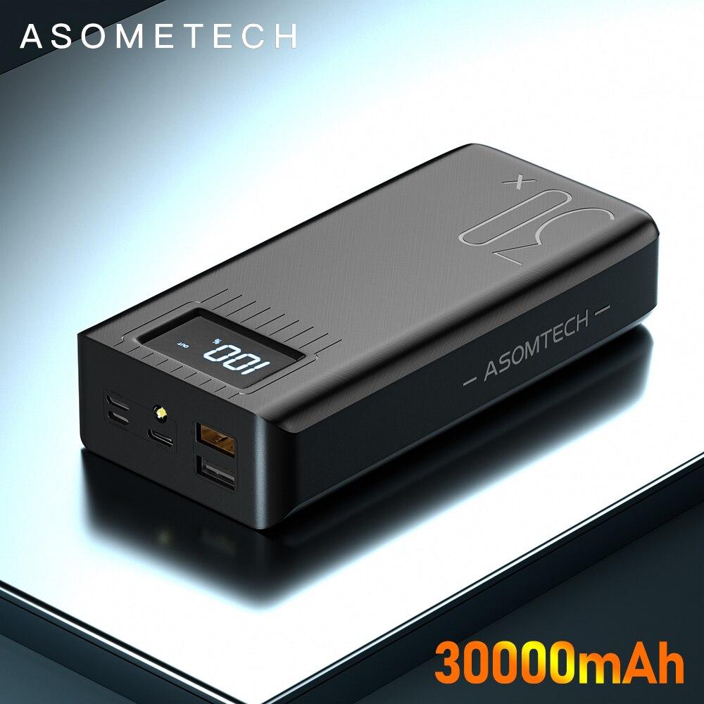 Портативное зарядное устройство Asometech, 30000 мА*ч, USB Type-C, Micro-USB, 3 цвета 1