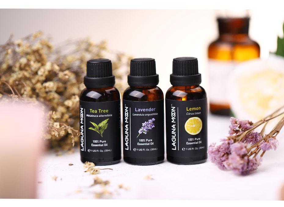 Lagunamoon Pure Essential Oils 30ML*3pcs Set Humidifier Diffuser Aromatherapy Aroma Massage Lavender Tea Tree Lemon Oil