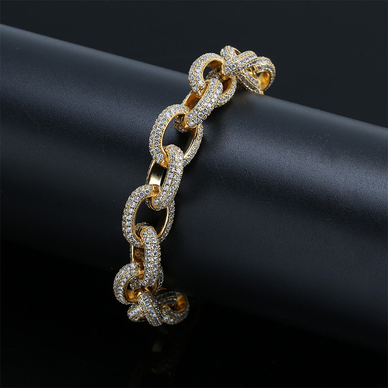 Iced Out Bling 15MM Wide Cubic zircon Large twist chain Bracelet Gold Silver For Men Women Hip Hop Jewelry in Chain Link Bracelets from Jewelry Accessories