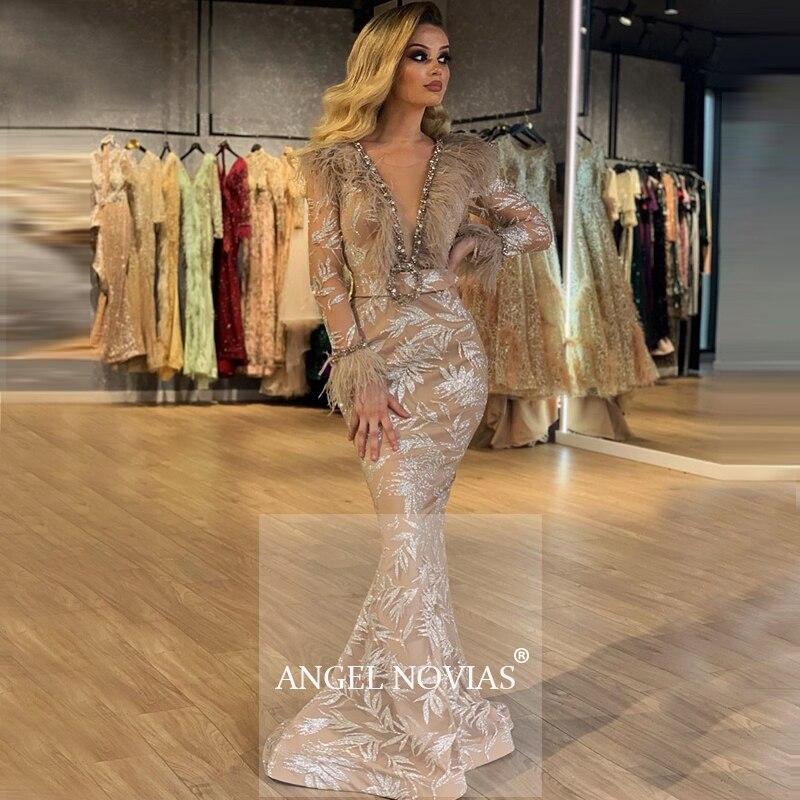 Long Sleeves Mermaid Champagne Glitters Abendkleider Arabic Evening Dress 2020 Robe De Soiree Longue 2018 avondjurk