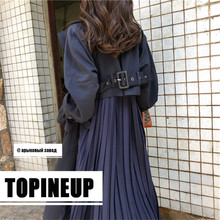 2019 Japan and Korean Harajukt Style Windbreaker Woman New Pattern Long Loose Coat Pleated Chiffon Patchwork Sashes Trench