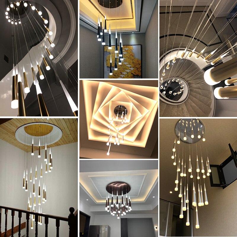 cheapest LED Ring Chandelier Lamp Living room Bedroom Kitchen staircase chandelier Lighting Indoor home Decor long stair chandelier