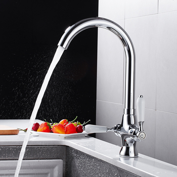 Modern 360 Rotating Brass Kitchen Faucet Chrome Kitchen Sink Faucet Cold and Hot Water Mixer Tap Saving Water Aerators фото