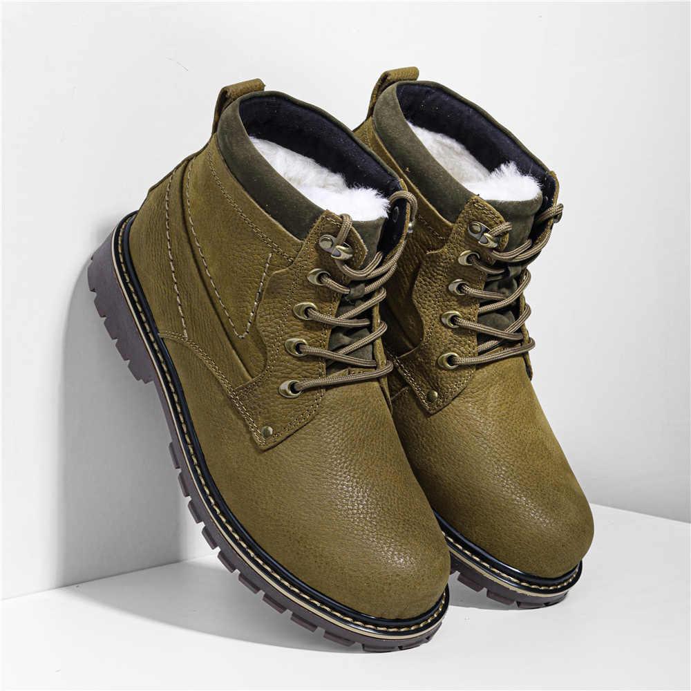 Natuurlijke Wol Winter Laarzen mannen Russische Stijl Volnerfleer Schapen Bont Handgemaakte Winter Schoenen # YM8988