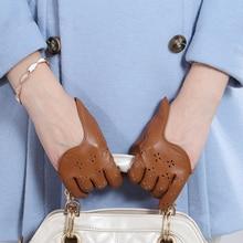 hot sale women genuine leather gloves short paragraph fashion half palm gloves lambskin leather gloves tide performances l098n Genuine Leather Women Gloves Female Dance Performance Breathable Hole Half Palm Sheepskin Gloves Fashion Trend 0666